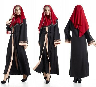 Muslim Dubai Style Abaya Kaftan Elegant Women Lace Maxi Dress Nightgown Robe