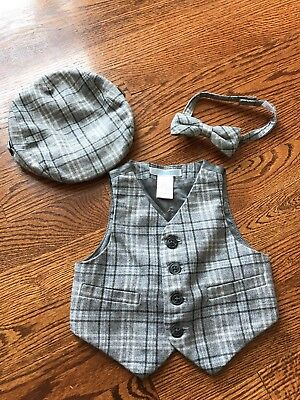 janie and jack Boys Hat, Bow Tie And Vest 3-6 months