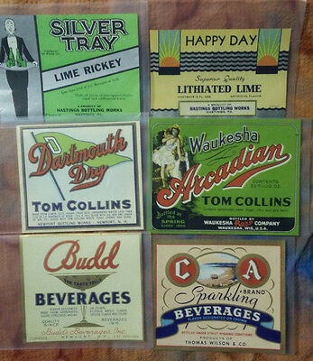 6 Vintage Soda Bottle Labels Tom Collins Lime Rickey Happy Day Dartmouth Dry C A