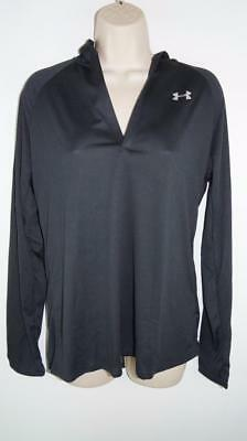 NWT Womens Under Armour Black Hooded Work Out Top Size Large MSRP $44.99 #5878