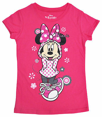 Disney Girls Minnie Mouse Casual Glitter Graphic T-Shirt Pink