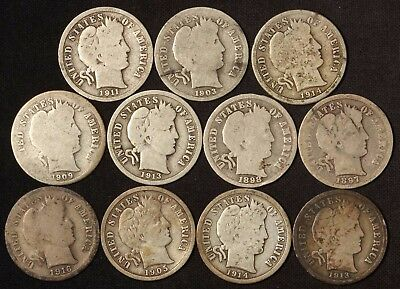 11 Barber Dimes - Variety Lot - Free Shipping USA