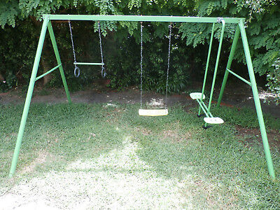 Hills Playtime Swing Set - 3 Bay - Green & Yellow - New/used Combo