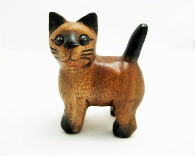 """Small Wooden Cat, 4"""" tall, Home - Office Decor, Cute Kitty - Hand Carved"""