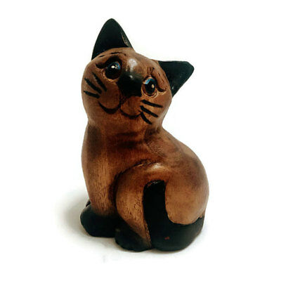 """Hand Carved Small Wooden Sitting Cat, 4.5"""" tall, Home, Office Decor, Cute Kitty"""