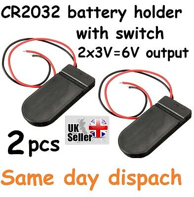 2 x PCS ON/OFF Switch 2 x 3V 6V CR2032 Cell Button Battery Holder for LED PK