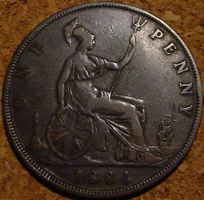 Large Old British Copper 1884 Penny Great Britain**nice Detailed Coin***