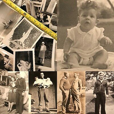 #13 100 + Old Photos Lot BW Vintage BLACK & WHITE Photographs Snapshots antique