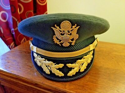 Military Hat KingForm Cap US Army Officer Visor Cap Green Felt W/ Badge