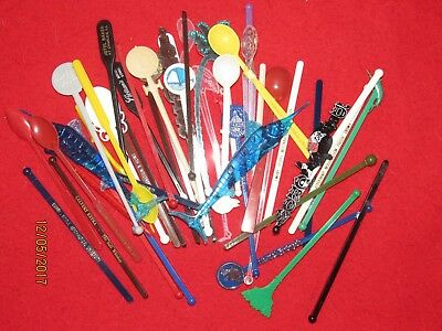 Vintage Swizzle Sticks 50 Total Drink Stir Stirrers Various Places Old Antique!