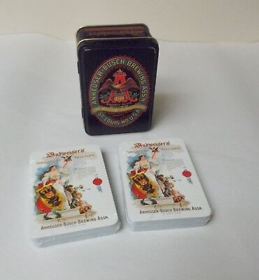 Vintage Anheuser Busch 2 Decks Playing Cards with Collectible Tin by Carlisle