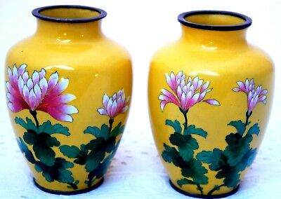 ANDO CLOISONNE VASE PAIR EARLY 20th CENTURY