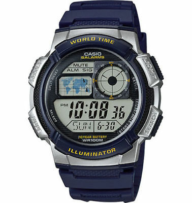 Casio Digital Men's Watch, 100M, 5 Alarms, Chronograph, Resin, AE1000W-2AVCF