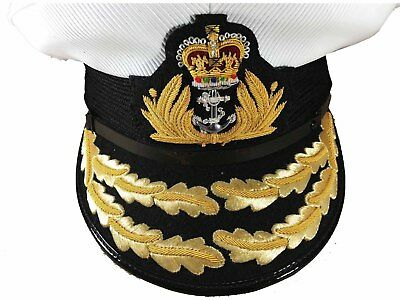 Royal Navy Admirals Cap,Plastic cover Flag Officer, RN,2 ROW Gold Peak,,HAT