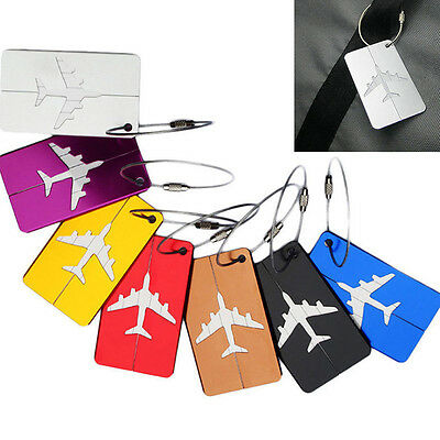 1Pcs Travel Aluminium Plane Luggage Tags Suitcase Name Address ID Baggage Label