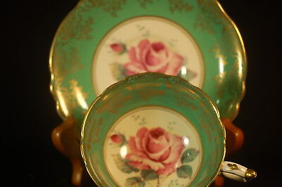Paragon- Double- Green Gold Roses Cup and Saucer - 1952
