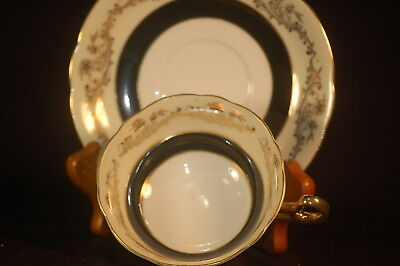 Shafford Black and Gold  Cup and Saucer- hand decorated