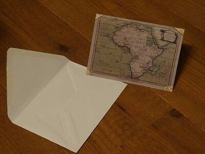 Map of AFRICA blank card + envelope from rare attractive antique map