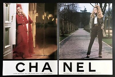 1992 Vintage Print Ad CHANEL 2 Page Ad Claudia Schiffer Fashion Style 90's