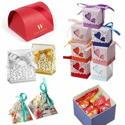 50pcs 4 Style Favor Ribbon Gift Box Candy Wedding Party Decorations Gold Boxes