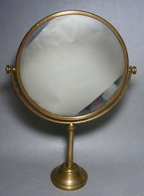 Antique Large Heavy Solid Brass Round Tilting Vanity Mirror Store Counter