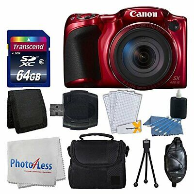 Canon PowerShot SX420 IS Digital Camera (Red) +64GB +More Complete Valued Bundle