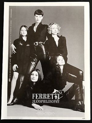 1992 Vintage Print Ad FERRETTI Jeans Philosophy Black Leather Image