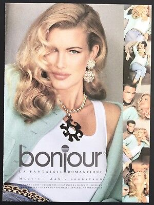 1992 Vintage Print Ad BON JOUR Woman's Fashion Image Model 90's Style
