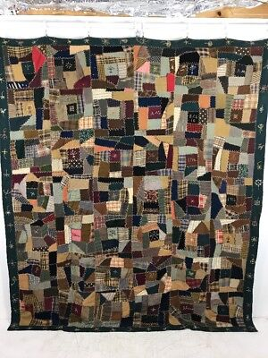 A Very Neat PA Folk Art 1904 York County Crazy Patch Album Quilt AAFA