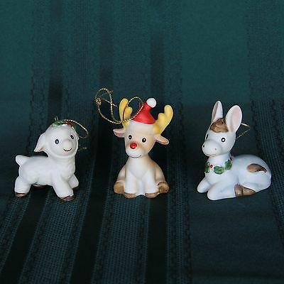 3 VINTAGE Homco Porcelain Animal Christmas Ornaments Lamb Donkey Deer MINT