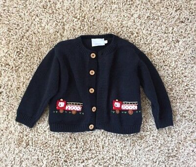 Little English Baby Boys 24 Months Fire Truck Cardigan Sweater