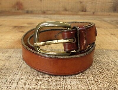 Vintage Leather Belt Distressed Solid Brass Buckle Brown 26