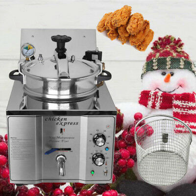 Commercial  Electric Pressure Fryer 16L Chicken Fish Veg 2.4KW Stainless Xmas
