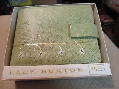 "Vintage Unused ""lady Buxton"" Green Leather Wallet Unused, Original Box W/papers"