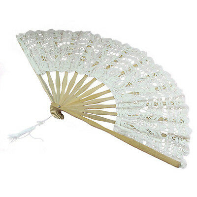 Handmade Cotton Lace Folding Hand Fan for Party Bridal Wedding Decoration  Beige