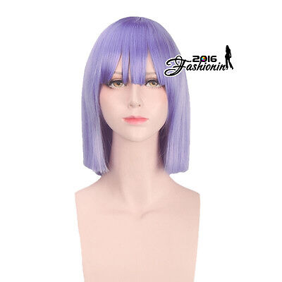 Anime for Miss Kobayashi's Dragon Maid Magatsuchi Purple Bob Hair Cosplay Wig