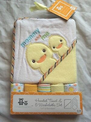 Hooded Towel & 5 Washcloths Gift Set Shower Ducks Bath Baby Yellow Unisex (L24)