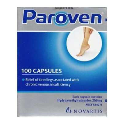 ツ Paroven 250Mg 100 Capsules For Tired Heavy Aching Swelling Legs Relief Venous