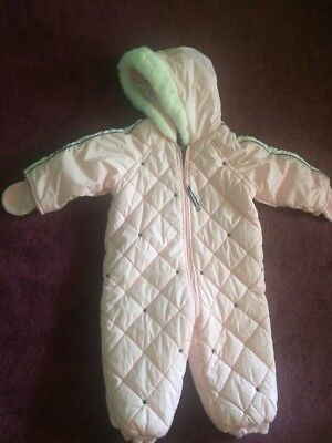 Tommy Hilfiger 18-24 Mo Pink Tufted Girls Snow Suit Stars Mittens Zip Up Hoodie