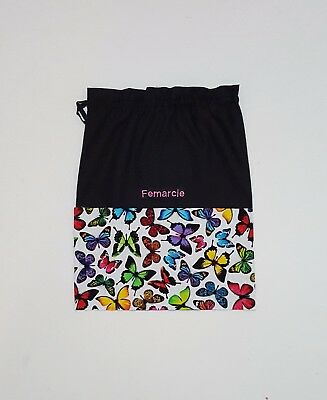 Free Name Butterfly Print Black Personalised Embroidery Library Bag Fd