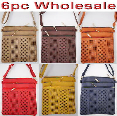 6pc Wholesale PU Leather Multi-Pockets Long Crossbody Bag Women Girl Handbag Mix