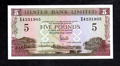 Northern Ireland 1992 $5 UNC Ulster Bank Limited Note E4231905
