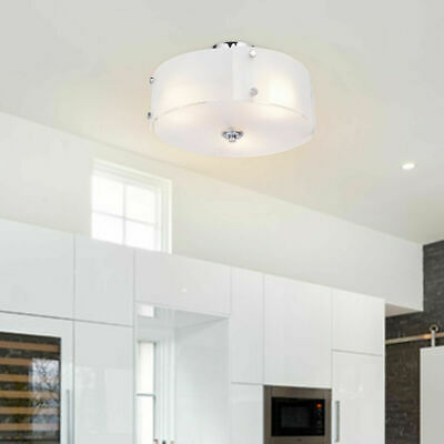 3-Light Brushed Chrome Finished Semi Flush Mount Three Flush Mount Ceiling Light