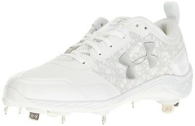 (15 Medium US, White/White) - Under Armour Men's Yard Low ST Baseball Cleats