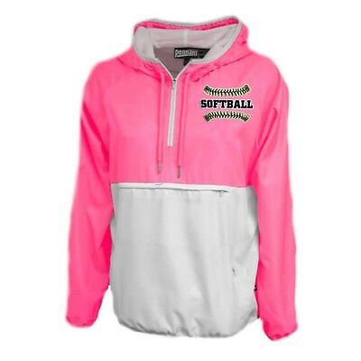 (Adult Large, Neon Pink) - Womens Softball Jacket. Varsity Girl