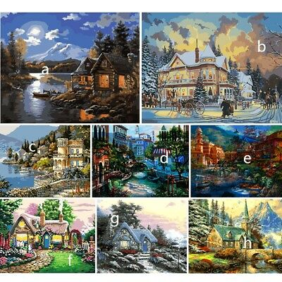 No Framed Paint By Number Kit Oil Painting Landscape Home Wall Art Decor AU DIY