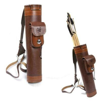 Archery Back Cow Leather Arrow Quiver Holder Hunting Target Shoulder Bag Pouch