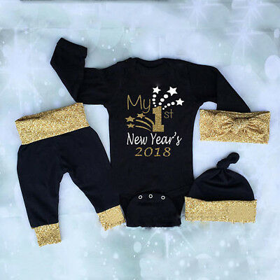 UK My 1ST New Year Newborn Baby Boys Girls Tops Romper Pants Hat Outfits Clothes