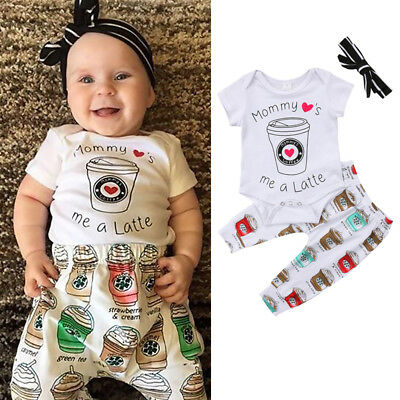 AU Stock Newborn Baby Girl Boy Short Sleeve Romper Top Pants Outfits Clothes Set