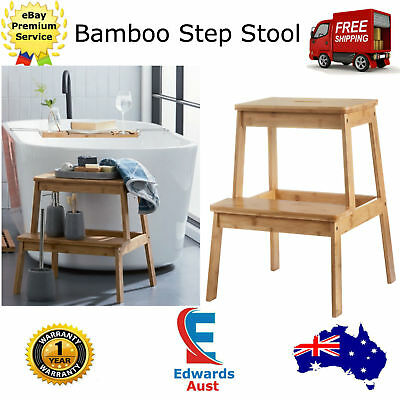 Bamboo Step Stool Two Steps Ladder Home Decor Portable Footstool Bathroom